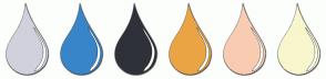 Color Scheme with #D1D1DD #3885CA #2F3138 #EBA444 #F9CCB2 #F8F6CC