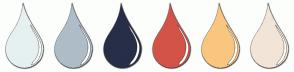 Color Scheme with #E6F0F0 #AEBDC7 #272E48 #D35348 #F9C680 #F3E4D8