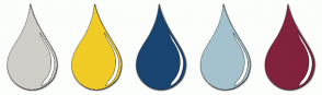 Color Scheme with #D1CEC9 #F1CC26 #194471 #A4C2CD #82223D