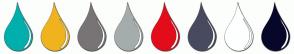 Color Scheme with #01AFAD #EFB31D #787475 #A4ADAC #E30C1B #484A5F #FEFFFF #070729