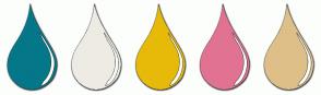 Color Scheme with #047789 #EEEBE4 #E7BA09 #E17292 #DEBF88