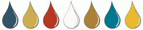 Color Scheme with #335467 #CEAD4E #B63724 #FBFAF8 #AC8037 #01788E #E9BA2C