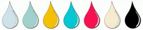 Color Scheme with #CEE2E9 #A0D1CD #F5C000 #00C9D1 #F91052 #F6EBCF #000000