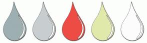 Color Scheme with #9DAFB1 #C8CDD0 #ED4C44 #E1E9AA #FCFCFC