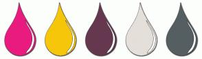 Color Scheme with #E91B7F #F6C60A #65384F #E4DFD9 #555F61