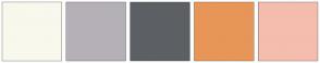 Color Scheme with #F8F8ED #B5B0B7 #5C6065 #E89558 #F4BDAE