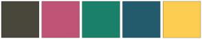 Color Scheme with #49473B #C05477 #1A806A #235B6D #FDCD52