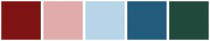Color Scheme with #7E1313 #E1ABAB #B8D5E8 #225C7C #20493C