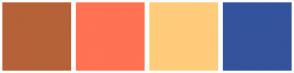 Color Scheme with #B56239 #FF7253 #FFCC7B #34539D