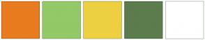 Color Scheme with #E87C1E #93C966 #EDD040 #5C7C4D #FFFFFF