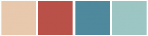 Color Scheme with #E8C9AD #BA5149 #4F899D #9CC6C3