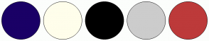Color Scheme with #1A0066 #FFFEEB #000000 #CCCCCC #BD3A3A