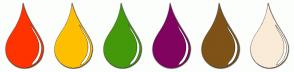Color Scheme with #FF3300 #FFBF00 #439909 #800360 #7F5217 #FAEBD7