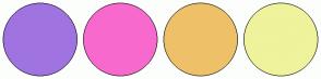 Color Scheme with #9F74E1 #F869CE #EEC169 #EFF39C