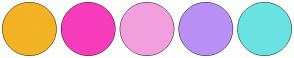 Color Scheme with #F2B325 #F63CBC #F2A0DD #B990F6 #6AE2E2