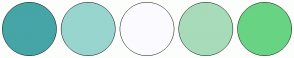 Color Scheme with #45A5A7 #98D5CF #FBFBFF #A8DBBA #68D483