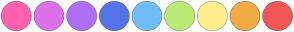 Color Scheme with #FF60AD #DC71E8 #B16DF2 #5574EC #71BDF9 #BAEB75 #FFEF8F #F2AA43 #F05656