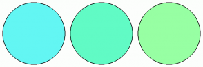 Color Scheme with #63F6F3 #61FBC5 #97FFA3