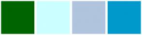 Color Scheme with #006400 #CCFFFF #B0C4DE #0099CC