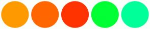 Color Scheme with #FF9900 #FF6600 #FF3300 #00FF33 #00FF99