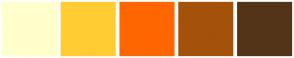 Color Scheme with #FFFFCC #FFCC33 #FF6600 #A45209 #533419