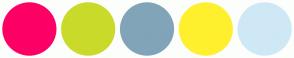 Color Scheme with #FD0065 #CADA2A #81A4B9 #FFF02E #CFE8F6
