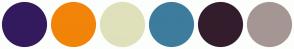 Color Scheme with #331A5E #F28409 #DFE1BB #3D7C9D #331D2C #A59694
