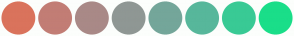 Color Scheme with #DA735C #C27D75 #A98987 #8F9794 #74A69A #57B79B #39CA95 #1ADE89