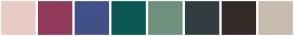 Color Scheme with #EACAC5 #923A5B #415086 #0B5852 #6E917D #323C41 #332A25 #C7BCAE