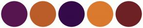 Color Scheme with #56154F #BA5D29 #350A48 #D97A2E #6E2124