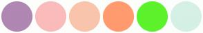 Color Scheme with #B086B3 #FABBBB #F9C4AC #FF9B6E #5CF22C #D5F0E5