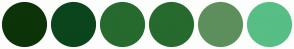 Color Scheme with #0D3309 #0B451C #266A2E #266A2E #5D8F5D #57BE85