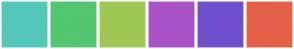 Color Scheme with #54C7BB #53C670 #9FC754 #AA53C6 #6F50CC #E36049
