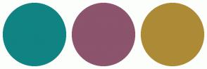 Color Scheme with #108383 #8C546D #AD8B36