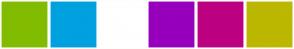 Color Scheme with #82BC00 #00A1DF #FFFFFF #9700BC #BC0082 #BCB700