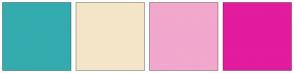 Color Scheme with #34ACAF #F5E5C9 #F2A7CD #E31B9D