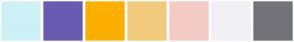 Color Scheme with #CDF1F7 #685BB0 #FAAF00 #F2CA7E #F5CBC6 #F0F0F5 #737278