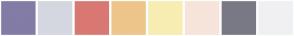Color Scheme with #837CA6 #D5D7E0 #D97873 #EDC58A #F7EDB2 #F7E4DA #797985 #F0F0F2
