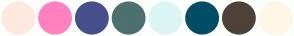Color Scheme with #FFE8E0 #FF80BF #464F8C #4B706E #DAF5F3 #004D66 #4D413A #FFF6E6