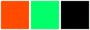 Color Scheme with #FF4B00 #00FF69 #000000
