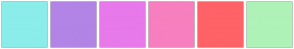 Color Scheme with #8BEDEA #B284E6 #E779EB #F77FBF #FF6267 #AFF2B8