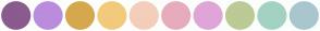 Color Scheme with #8B5A8E #BB8BDD #D6A84E #F2CA7C #F4CEBA #E7ACBC #DFA5D8 #BCCA96 #A3D2C3 #A9C6CE