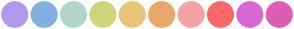Color Scheme with #B19AEC #81B1DF #B2D6CE #D0D67A #EAC478 #E8A86B #F4A4A4 #F96868 #D869D4 #DF5DB3
