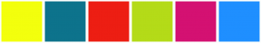 Color Scheme with #F3FF0D #0D738C #ED1E13 #B4DB18 #D41172 #1F8FFF