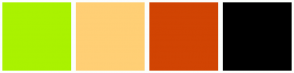 Color Scheme with #AAF200 #FFCF75 #D14403 #000000