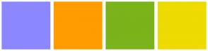 Color Scheme with #8B88FF #FF9C00 #7BB31A #EEDB00