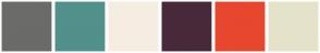 Color Scheme with #6B6B6A #52908B #F6EDE2 #48293B #E7472E #E5E2CA