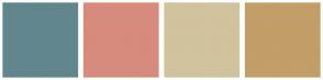 Color Scheme with #62868D #D78B7D #D1C39D #C29E69