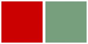 Color Scheme with #CC0000 #779F7E