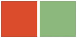 Color Scheme with #DB4C2C #8DB87C